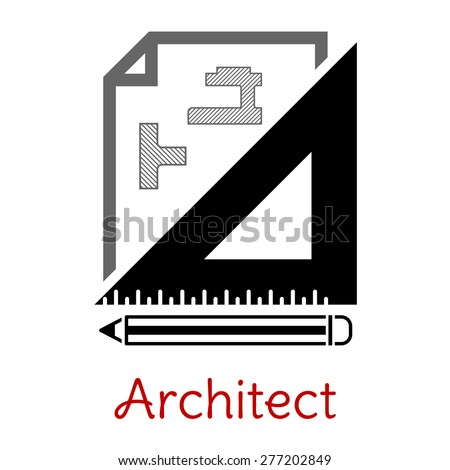 Black white architect icon building blueprint stock vector 277202849 black and white architect icon with a building blueprint right angle set square and pencil malvernweather Images