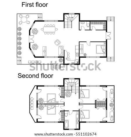 Black And White Architectural Plan Of A Double Decker House. Layout Of  Apartment With Furniture