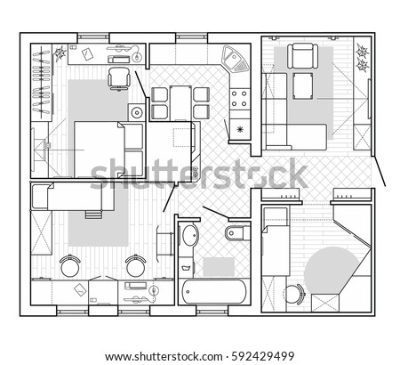 top house blueprint designer. Black and White architectural plan of a house  Layout in top view the apartment Architectural Plan House Stock Vector 592429499