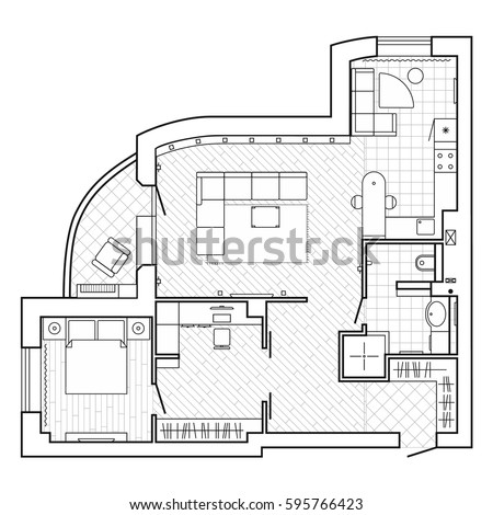 Black white architectural plan house layout stock vector 595766423 black and white architectural plan of a house layout of the apartment with the furniture malvernweather