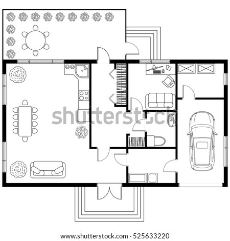 Black and White architectural plan of a house with car. Layout of the apartment with the furniture in the drawing view. With kitchen and bathroom, living room and bedroom, with garage.