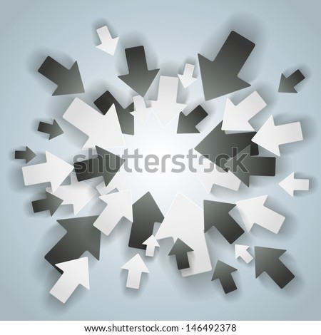 Black and white arrows with centre on the grey background. Eps 10 vector file. - stock vector