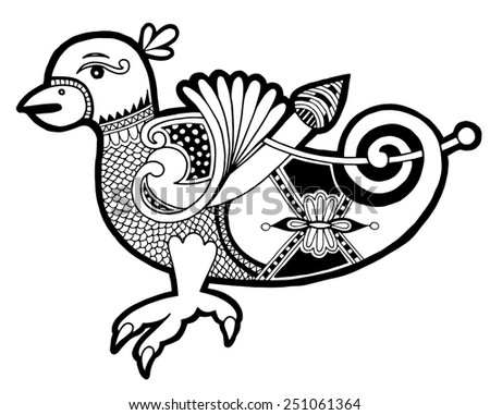 black and white authentic celtic bird, ethnic vector illustration - stock vector