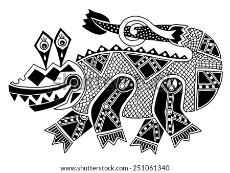 black and white authentic original decorative drawing of crocodile, vector illustration on white background - stock vector