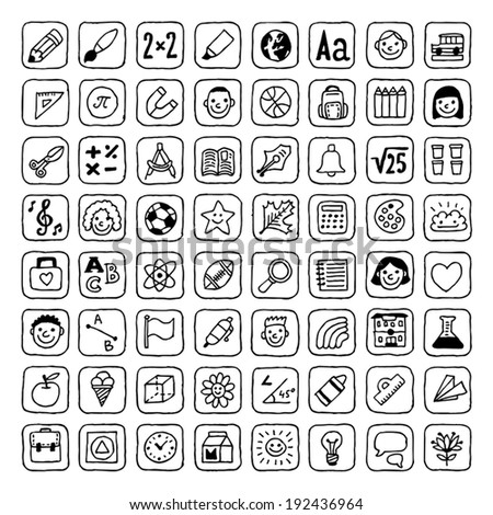 Black and White back to school icons set. Vector. Hand drawn.  - stock vector