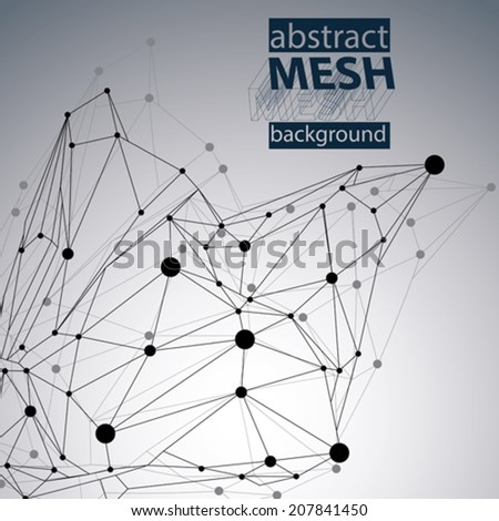 Black and white background and distorted 3D abstract object with lines and dots. - stock vector