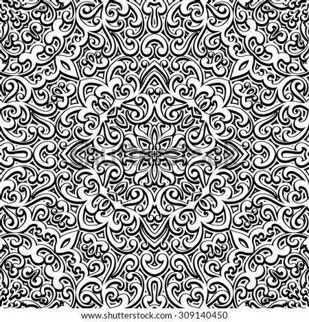 Black and white background, vector curly ornament, vintage seamless pattern - stock vector