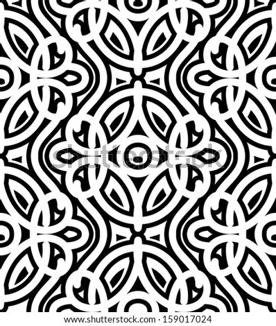 Black and white background, vector damask seamless pattern - stock vector