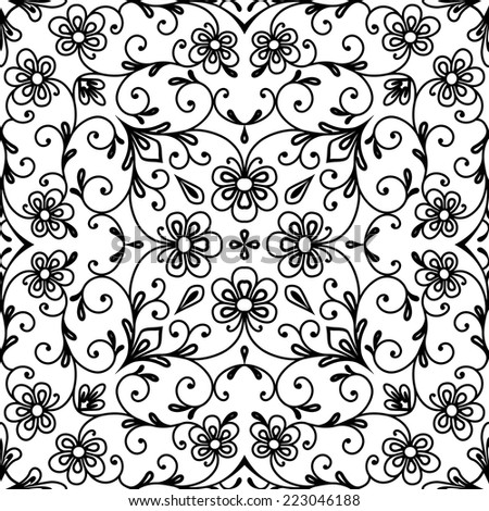 Black and white background, vector seamless pattern, abstract floral ornament - stock vector