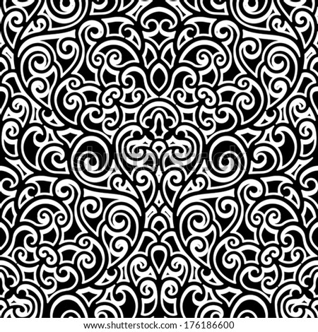 Black and white background, vector swirly ornament, vintage seamless pattern - stock vector
