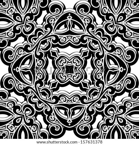 Black and white background, vintage vector seamless pattern - stock vector