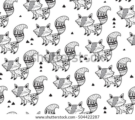 Black and white background. Zentangle coloring book page. Vector illustration of hand drawn foxes with indian ornaments. Seamless pattern for backgrounds, textile prints, wrapping, wallpapers