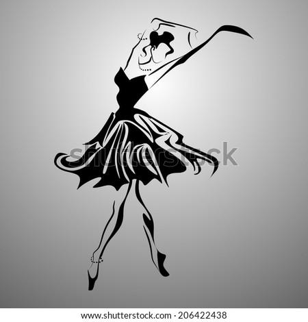 Black and white ballerina - stock vector