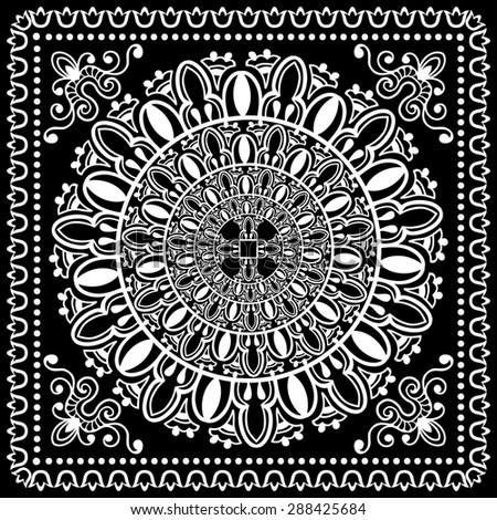 Black And White Paisley Bandana Pattern Black And White Bandana Print