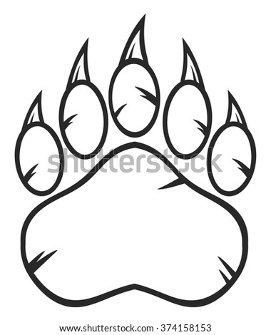 Black And White Bear Paw With Claws Vector Illustration Isolated On Background