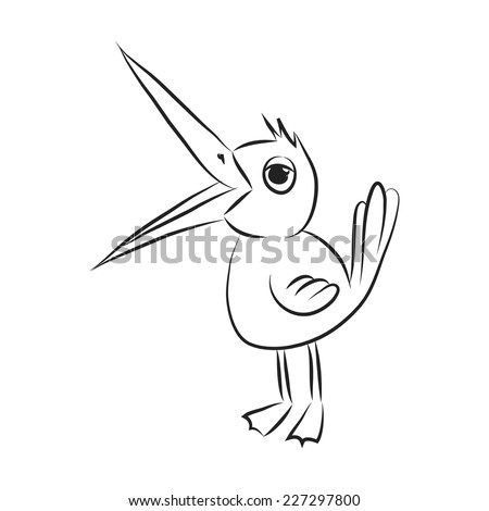Black and white bird with opened beak. Vector sketch coloring. - stock vector