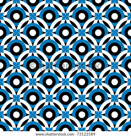 Black and white-blue repeating ornament (vector) - stock vector