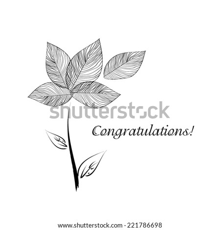 black and white bouquet flowers of leaves. congratulations. Vector  - stock vector