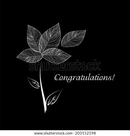 black and white bouquet flowers of leaves. greeting card. Vector  - stock vector