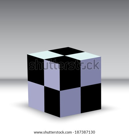Black and white box shape on the grey background. Business concept