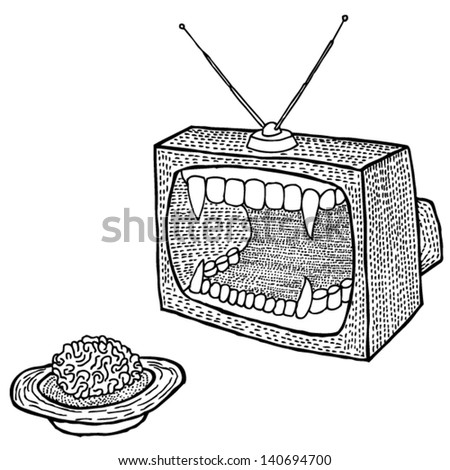 Black and white brain television tv print t-shirt engraving illustration. Funny vector print. - stock vector