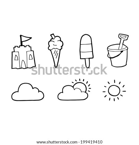 Black and white British summer icons - vector sketch illustration - stock vector