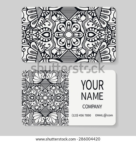 Black and white business card set with place for your text. Vector geometric background. Card or invitation collection. Vintage decorative elements. Hand drawn Islam, Arabic, Indian, ottoman pattern. - stock vector
