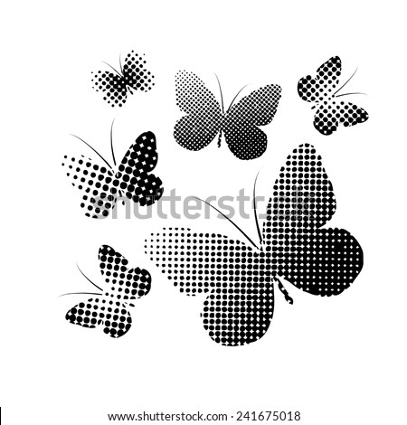 Black and white butterflies circles. Vector  - stock vector