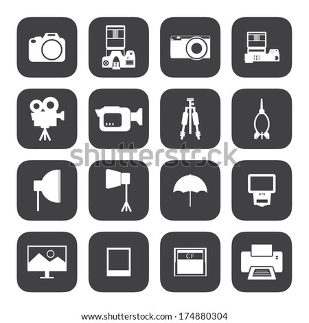 Black and White Camera and accessory icons.Vector EPS10 - stock vector