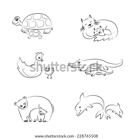 Black and white cartoon animals with babies  .vector sketch coloring.