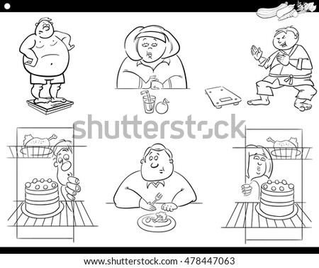 Black And White Cartoon Humorous Illustration Of Overweight People Characters On Diet