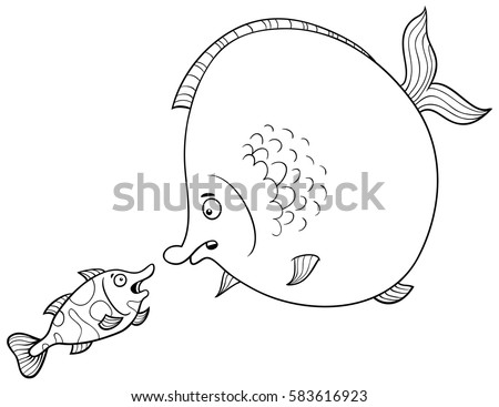Black white cartoon illustration big fish stock vector 583616923 black and white cartoon illustration of big fish and small fish animal characters talking coloring page thecheapjerseys Choice Image
