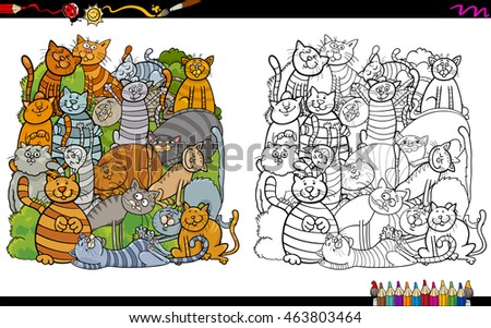 Black and White Cartoon Illustration of Cat Characters Coloring Book Activity