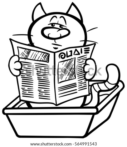 Black And White Cartoon Illustration Of Cat Reading A Newspaper In His Litter Box Coloring Page