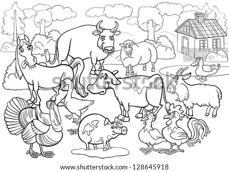 Black and White Cartoon Illustration of Country Scene with Farm Animals Livestock Big Group for Coloring Book - stock vector