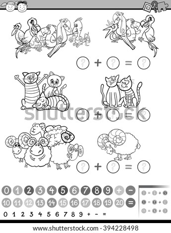 Black and White Cartoon Illustration of Education Mathematical Game of Counting Animals for Preschool Children - stock vector