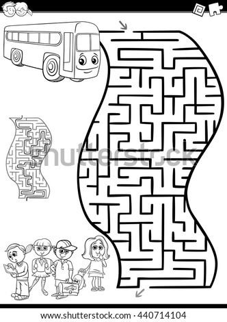 Black and White Cartoon Illustration of Education Maze or Labyrinth Activity Task for Preschool Children with School Bus and Kids for Coloring
