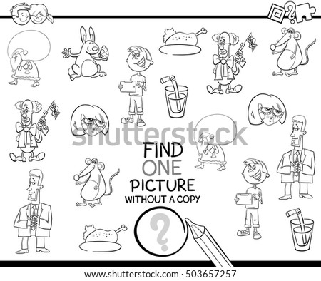 Black and White Cartoon Illustration of Educational Activity of Finding Picture without Pair for Children Coloring Book
