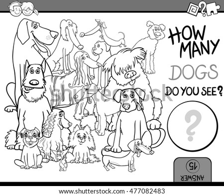Black and White Cartoon Illustration of Educational Counting Activity Task for Children with Purebred Dog Characters Coloring Book