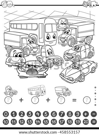 Black and White Cartoon Illustration of Educational Mathematical and Counting Addition Activity Task for Children with Cars for Coloring Book
