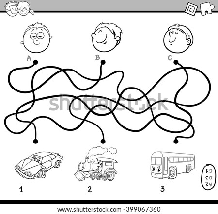 Black and White Cartoon Illustration of Educational Paths or Maze Puzzle Activity for Preschool Children with Vehicles Coloring Book - stock vector