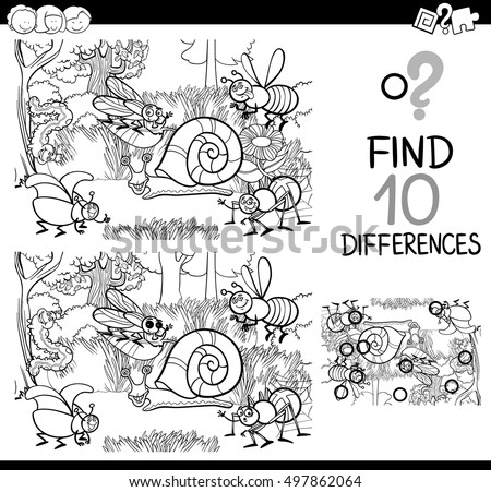 Black and White Cartoon Illustration of Finding Details Educational Activity for Children with Insect and Bugs Characters Coloring Book