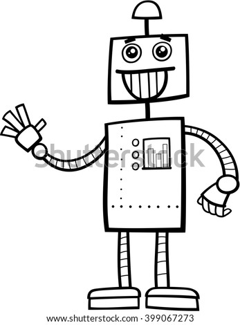 Black And White Cartoon Illustration Of Funny Robot Fantasy Character Coloring Book