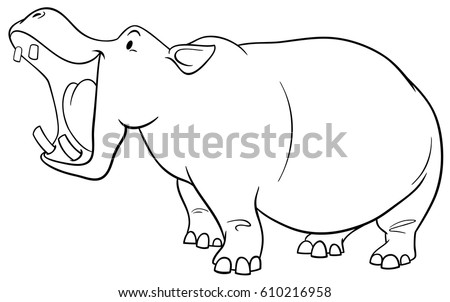 black and white cartoon illustration of hippopotamus wild animal character coloring page