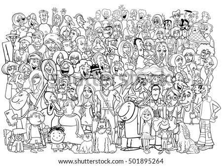 Black and White Cartoon Illustration of Large People Group in the Crowd