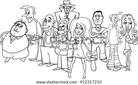 Black and White Cartoon Illustration of People Characters Group