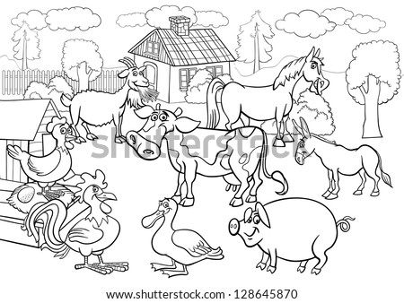 Black and White Cartoon Illustration of Rural Scene with Farm Animals Livestock Big Group for Coloring Book - stock vector
