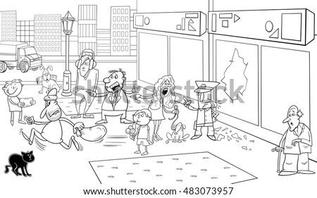 Black and White Cartoon Illustration of Street Situation with Running Thief and Onlookers People for Coloring Book