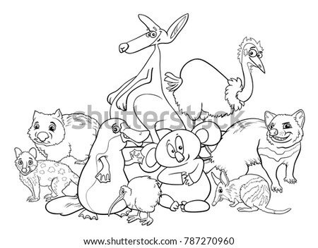 black and white cartoon illustrations of australian animal characters group coloring book