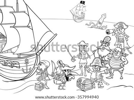 Black and White Cartoon Illustrations of Fantasy Pirate Characters with Ship on Treasure Island for Coloring Book